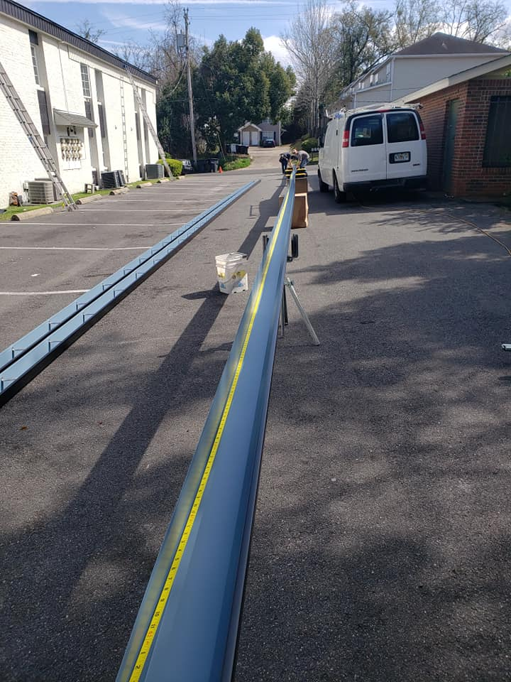 160 foot single section gutter made for commercial property.